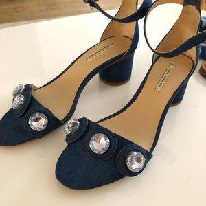 Denim Jewel Heeled Sandals